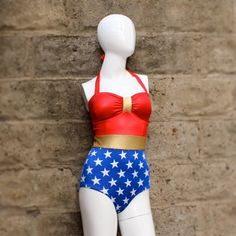 Seriously considering considering this... GAH! Wonder women swimsuit by Kooj on Etsy, $85.00