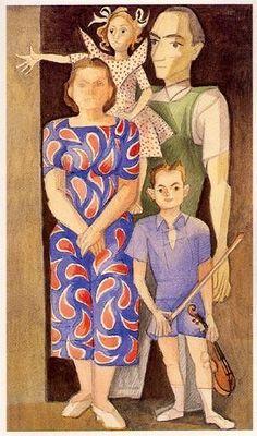 « Autoretrato em família II»  (Almada Negreiros e Sarah Afonso com os filhos )  Aguarela sobre papel .  530x364 mm  José de Almada Negreiros (1873 - 1970 )