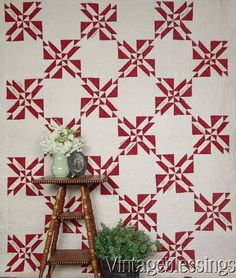$125 Antique RED & White Signature QUILT Schwindt Family www.Vintageblessings.com