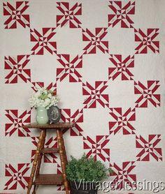 $125 Antique RED & White Signature QUILT Schwindt Family www.Vintageblessings.com