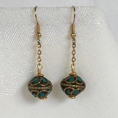 Tibetan Mosaic Beads & 14k Gold Earrings