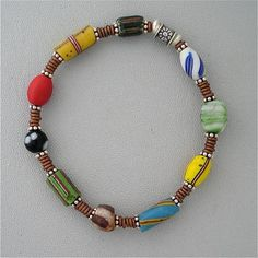 Trade Bead Bracelet Fit for a ManAntique Beads 8 inches by KateDW