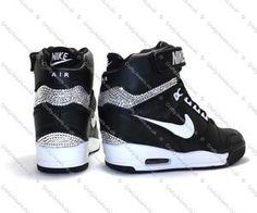 Swarovski Crystal Nike Air Revolution Sky Hi Hidden Wedge Core Black White Nike High Heels, Nike Wedge Sneakers, Nike Wedges, Classic Sneakers, Sneaker Wedges, Sneaker Boots, Jordan Shoes Girls, Girls Shoes, Jordan Heels