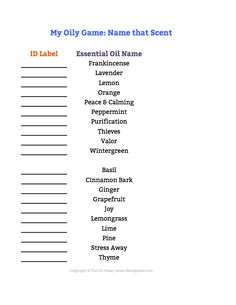 My Oily Games: Name that Scent -- a super, fun game to play at your next class, meeting, and/or event! We provide you with the concept and even links to supplies you may want to use to prep for the...