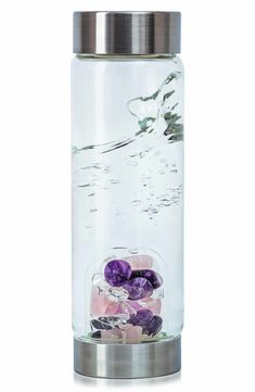 What it is: A water bottle made from premium, high-quality glass an interchangeable gempod base filled with a selection of hand-picked gemstones.