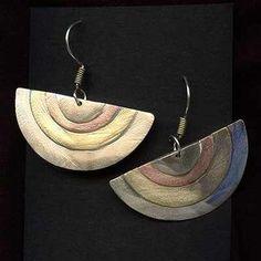 Kolczyki biżuteria artystyczna robiona ręcznie handmade z nowego srebra mosiądzu miedzi miedziane mosiężne