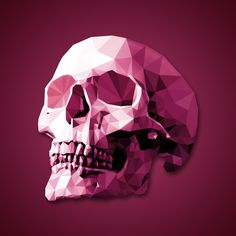 low poly skull. drew triangles over a skull reference. colored in and did a color overlay. time consuming but fun to do.