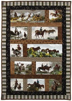 Check out this great new kit and fabric line from Maywood Studios. It fwas designed by local Western artist & painter Tom Browning, and features scenes of horses and cowboys.