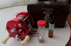 VINTAGE COLLECTORS ABU RED AMBASSADEUR 5000 REEL & CASE SPARTS VIAL OIL VIAL #ABUAMBASSADEUR5000