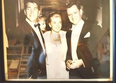 Photo Dean Martin his wife Jeanne and Tony Randall Black & White Framed
