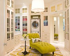 Massive closet with chartreuse chaise, glass-front cabinets, and washer/dryer! Also note the department store style mirror in the corner. - washing machine IN the dressing room? House Design, Room, House, Interior, Home, Dream Closets, Closet Designs, Glass Front Cabinets, Interior Design