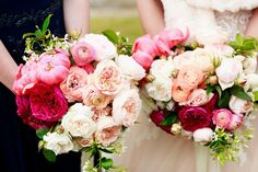 Coral peonies, deep purple David Austin roses, white hydrangea and peachy-pink ranunculus for this bride's beautiful, Spring bouquet.   Click image for more of this wedding on the blog.   Floreat | Wedding flowers | Sydney Wedding #peoniesandhydrangeas