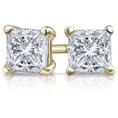 Diamond Earrings Design | 1 Carat 14K Yellow Gold Solitaire Diamond Stud Earrings Princess Cut 4 Prong Push Back IJ Color SI1SI2 Clarity -- See this great product. Note:It is Affiliate Link to Amazon.
