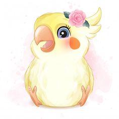 Baby Animal Drawings, Cute Cartoon Drawings, Watercolor Lion, Watercolor Illustration, Vogel Clipart, Drawing Sites, Cute Animal Illustration, Baby Painting, Cute Little Animals