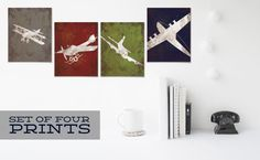 Vintage Airplane Aviation Print Series Wall Decor by littleredflag