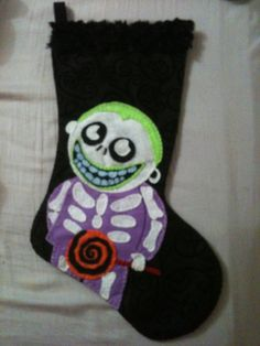 nightmare before christmas barrel inspired christmas stocking hand embroidered felt Nightmare Before Christmas Ornaments, Felt Christmas Decorations, Christmas Stockings, Christmas Sweaters, Halloween Christmas, Halloween Crafts, Christmas Crafts, Dark Christmas, Favorite Holiday