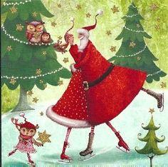 Quadratische Postkarte ~ Mila Marquis ~ Tanz mit Weihnachtsmann ...