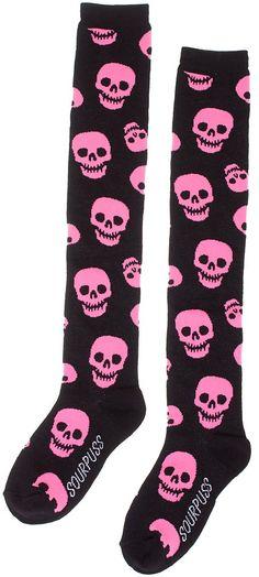 SOURPUSS LUST FOR SKULLS SOCKS PINK AND BLACK #skulls #love