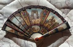 Outstanding French Miniature Hand Fan, 2-Sided, 1860s-1900, Scenes of Paris