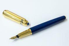 CARTIER - Pasha Royale Bleu Fountain Pen (metal composite, gold plated trim, Chinese lacquer) - 1993 / France