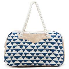 Sole Society Getaway Fabric Weekender ($90) ❤ liked on Polyvore featuring bags, luggage and navy cream