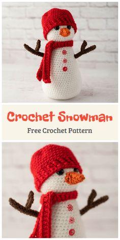 Crochet Christmas Decorations, Crochet Decoration, Christmas Crochet Patterns, Cute Snowman, Christmas Snowman, Snowmen, Christmas Ideas, Christmas Crafts, Animal Knitting Patterns