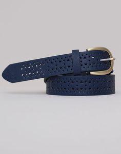 Pull&Bear - dames - accessoires - riem met driehoekige en ronde gaatjes - marine - 05870301-V2015