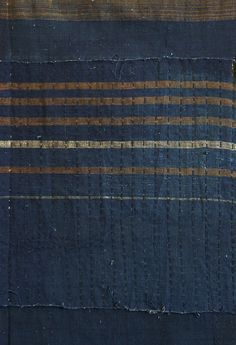 A Zanshi and Sashiko Panel: Hand Loomed Indigo Dyed Cotton