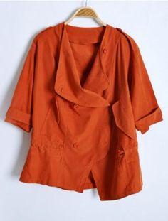 Orange Batwing Sleeve Drawstring Waist Trench Coat