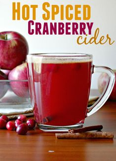 Easy hot spiced cranberry cider recipe for all your holiday parties This holiday beverage is the perfect blend of apple cider, cranberry juice, brown sugar and maple syrup flavored with cinnamon, cloves and star anise. Cranberry Cider Recipe, Cranberry Juice, Cranberry Extract, Christmas Drinks, Holiday Drinks, Holiday Parties, Christmas Appetizers, Christmas Cooking, Holiday Treats