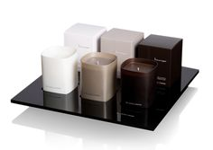 Ex Voto Paris, Lounge collection _ Ginger Lotus, Deep Leather and Black Amber scented candles _