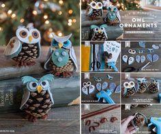 Cómo hacer unos búhos navideños con piñas de árbol  #diy #navidad #decoracion