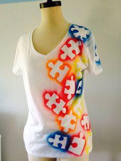 Items similar to Autism Awareness Tee shirt - Puzzle piece, multi color on Etsy Autism Awareness Crafts, Autism Crafts, Autism Awareness Month, Puzzle Pieces, Autism Tattoos, Puzzle Crafts, Adoption Party, Quilts, Diy Crafts