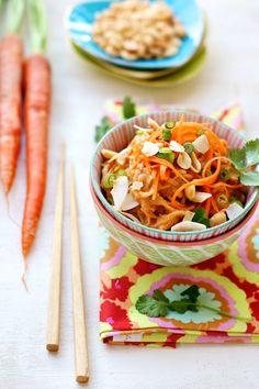Spaghetti squash noodles with Thai peanut sauce.