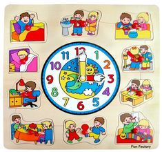 Fun Factory - Children Puzzle With Clock Early Childhood Centre, Early Childhood Education, Large Wooden Clock, Educational Toys For Kids, Help Teaching, Puzzles For Kids, Wooden Puzzles, Puzzle Pieces, Little Gifts