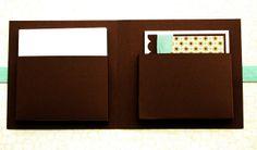 Card folder tutorial (inside folder) by Debby Hughes from Lime Doodle Design.  http://limedoodledesign.com/2011/03/card-folder-tutorial/