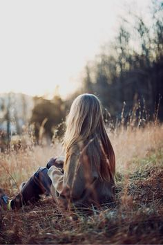 Lonely autumn fashion girl outdoors nature autumn long hair