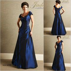 Navy Blue mother of the bride evening gown. For a twinkle light wedding!
