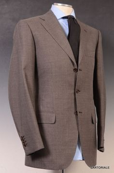 SARTORIO by KITON Napoli Brown Striped Wool Suit EU 48 NEW US 36 38
