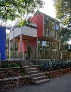 The studio and houses of Diego Rivera and Frida Kahlo designed by Juan O'Gorman in San Angel Inn, Mexico City.