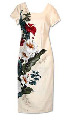 Sweetheart Cream Hawaiian Dress
