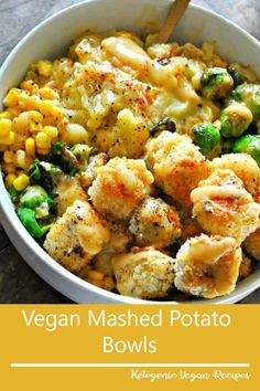 Vegan Mashed Potato Bowls - Rabbit and Wolves - - The creamiest vegan mashed potatoes, crispy baked tofu nuggets, roasted veggies, corn and the best dang vegan gravy! Potatoe Dinner Recipes, Mashed Potato Recipes, Vegetarian Recipes Dinner, Healthy Crockpot Recipes, Cooking Recipes, Vegan Vegetarian, Vegan Mashed Potatoes, Healthy Chicken Dinner, Thanksgiving Recipes