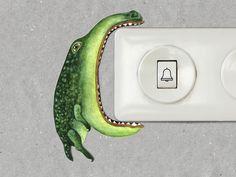 Lichtschalterfigur:  Kleines Krokodil, dass gerne mal an Lichtschaltern nagt. Pappfigur in Tier-oder Fantasiegestalt zum verschönern und beleben von Lichtschaltern und Steckdosen. Den...