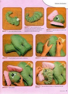 Bom de Fazer: Elefante em tecido Softies, Plushies, Sewing Toys, Cool Kids, Dinosaur Stuffed Animal, Elephant, Pillows, Crafts, Closure