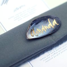 Shell Beach Destination Wedding Escort Place Cards Calligraphy on Oyster Mussel Shells