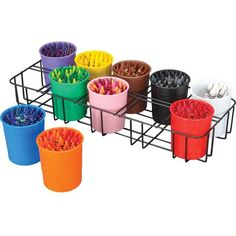 Sort all your crayons, markers, and colored pencils into the colored cups so students can quickly find the color they need. The rack gives you a handy place to store the cups and lets you easily move them. Crayon Storage, Crayon Organization, Marker Storage, Organization Station, Classroom Organisation, Playroom Organization, Classroom Decor, Classroom Management, Organizing