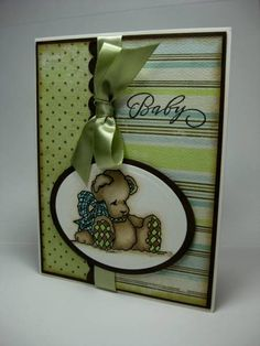 Baby Boy Bear card. For announcement, baby shower, or welcome baby!
