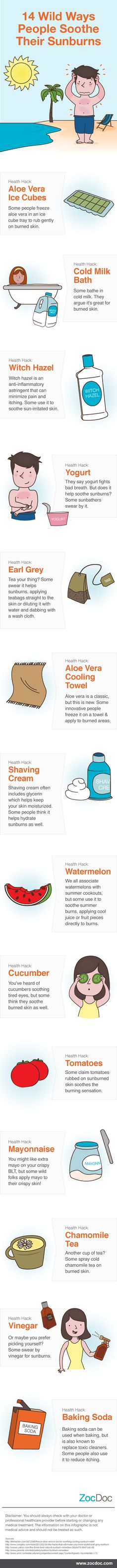 14 Wild Ways People Soothe Their Sunburns [INFOGRAPHIC]