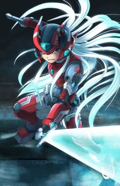 tokyootakumode:  Megaman Zero with Mythos armor drawn by Special Creator Wave