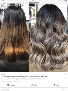 Smoky Ash-Blonde Balayage/Colour Soften for Lusciously Wavy Black-Brown Hair - Hair World Grey Balayage, Brown Hair With Blonde Balayage, Balayage Brunette, Brunette Hair, Blonde Hair On Black Hair, Ash Hair, Blonde Ombre, Bayalage On Black Hair, Ombre For Dark Hair